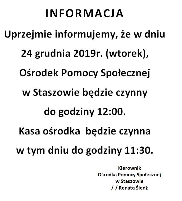 INFORMACJA - godziny pracy OPS 24 XII 2019